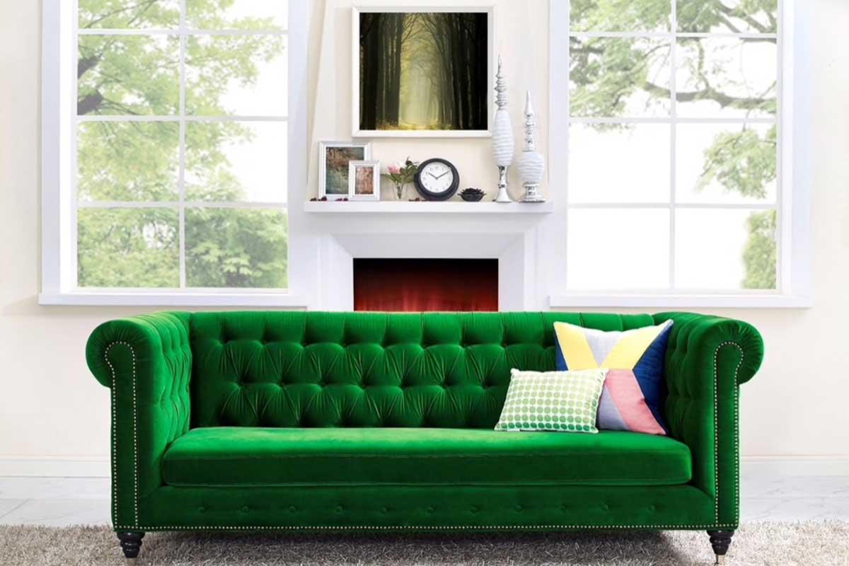 Photo of emeral green sofa